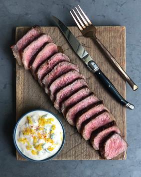 NY Steak with Smoked Paprika Yogurt Sauce
