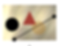 A red triangle, one black circle and one gold circle, with a black line on a light brown background.