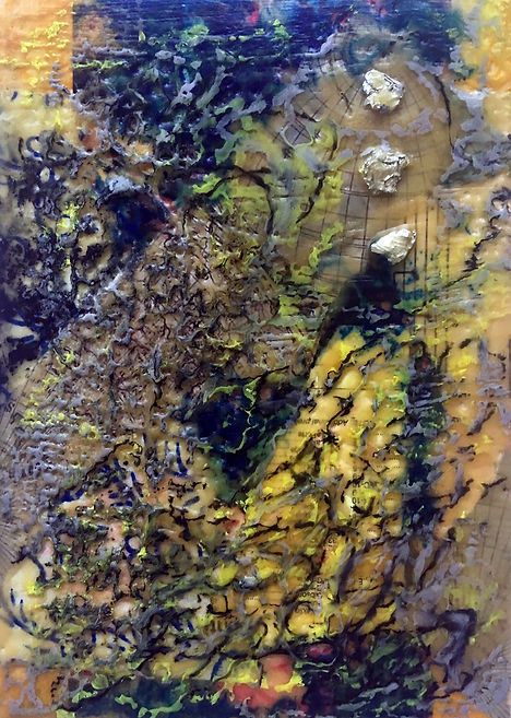 encaustic painting by Fuhrer, blue and yellow