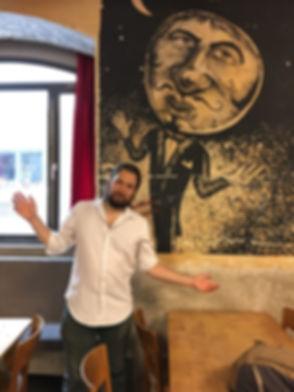 Photo of Erik Fuhrer at Cabaret Voltaire in Zurich, Switzerland.