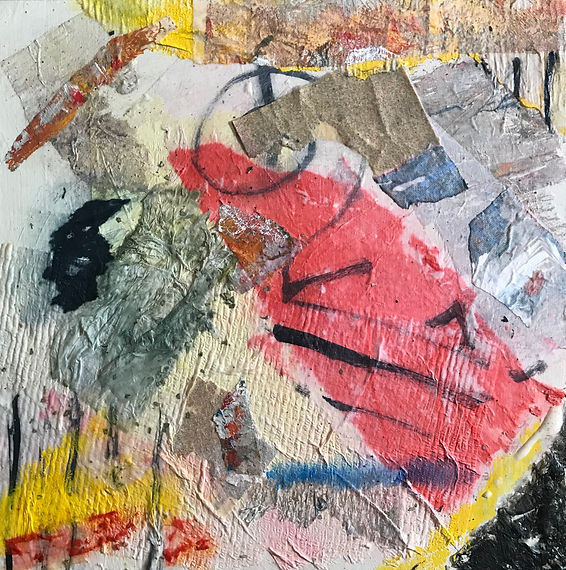 Collage by Fuhrer, bright colors, mostly reds and blacks