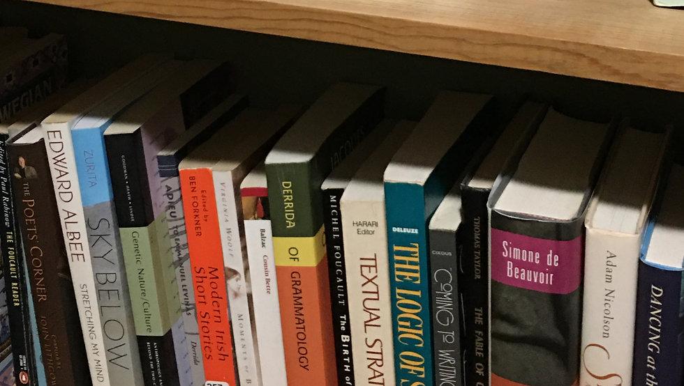 Row of books on a bookshelf