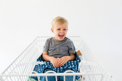 Navy Blue Buggy Bench Shopping Cart
