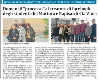 """Studenti del Mottura impegnati nel """"processo"""" al creatore di Facebook"""