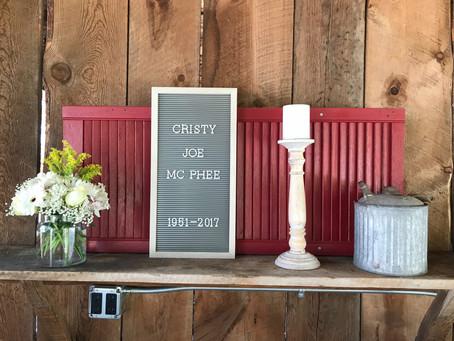 Celebration of Life                         Christy Joe McPhee-August 1/18