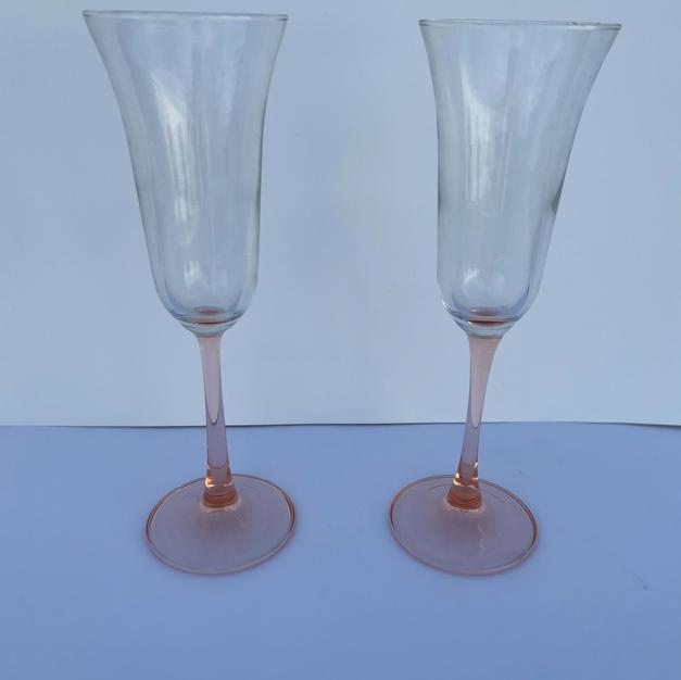 Pink stem champange flutes