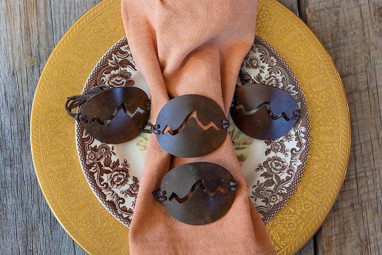 Set of 4 - Napkin Rings- Rust Patina Closed Design