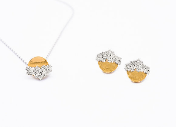 18KT Gold & White Gold Necklace & 18KT Gold Earrings