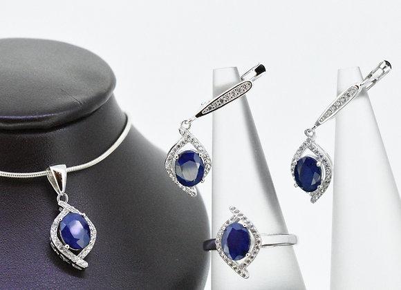 Blue Sapphire Trio set in Silver
