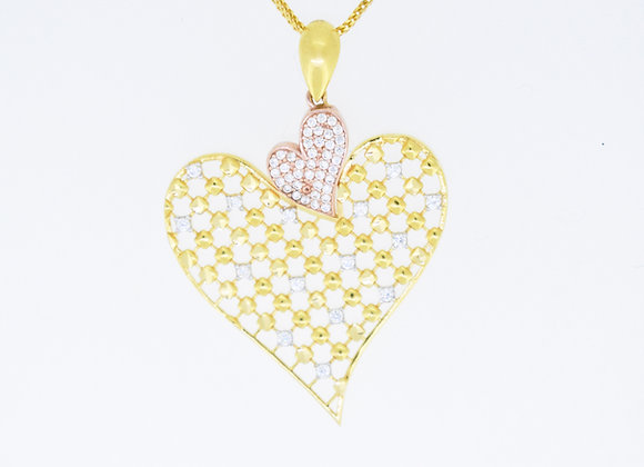 Double Heart Net Pendant