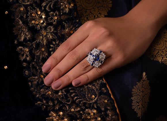 Blue Sapphire & Diamond Statement Ring