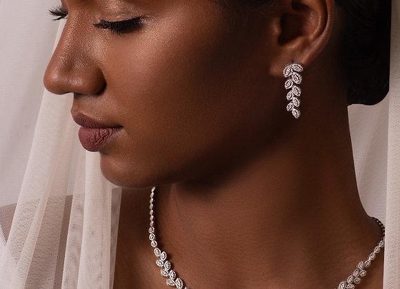 Laurel Wreath Diamond Necklace & Earrings Set