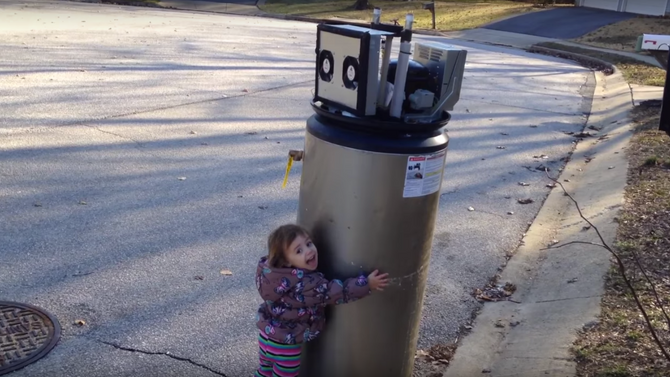 Little Girl Mistakes Water Heater for Robot