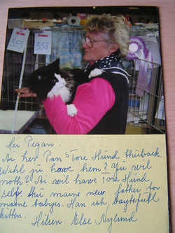 Mrs Else Nylund and the most famous NF cat EU.CH.Pan's Polaris and the letter he