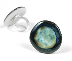 Silver ring with porcelain