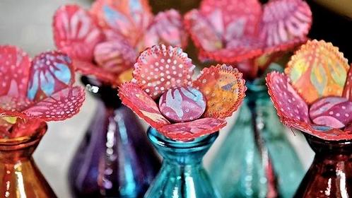 Batik Fabric Flower Stem