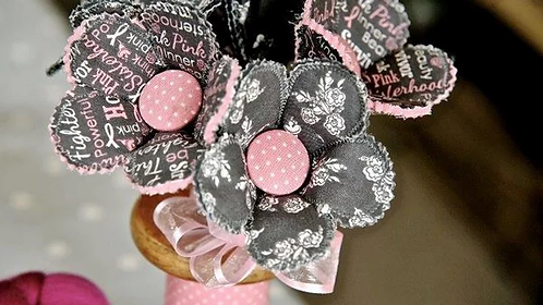 Think Pink Fabric Flower Bouquet