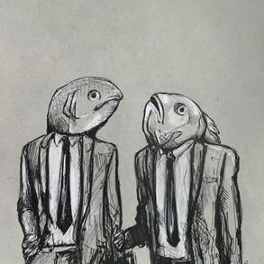 Fishy Business  Pen and Marker on Toned Paper, 2020