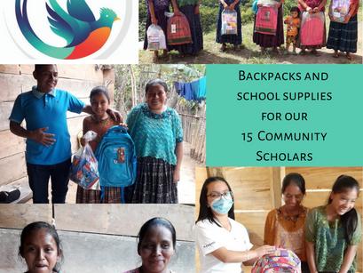 Community Scholars - 15 indigenous Maya Guatemalan young girls get new backpacks/school supplies