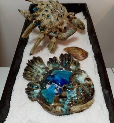 ceramic fish and crab
