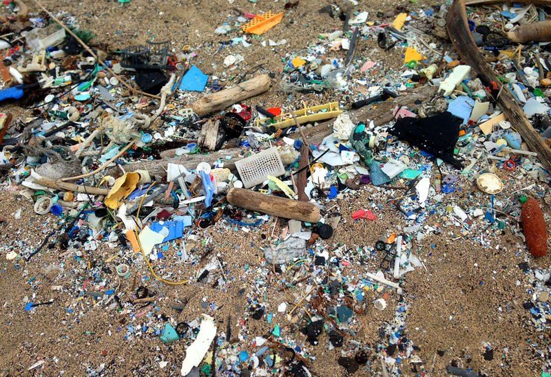 Trash on a Hawaiian beach