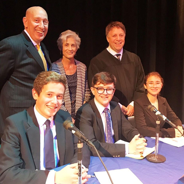 Dr. Mark Malham, MCSD, Kate Boland, CCV Chair, Judge Alan Forst with 2017-18 Contestants