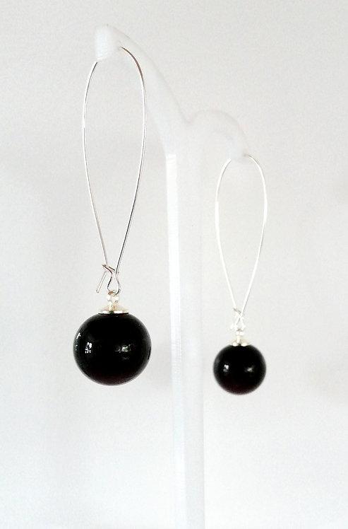 Boucles d'oreilles en verre soufflé de couleur noire