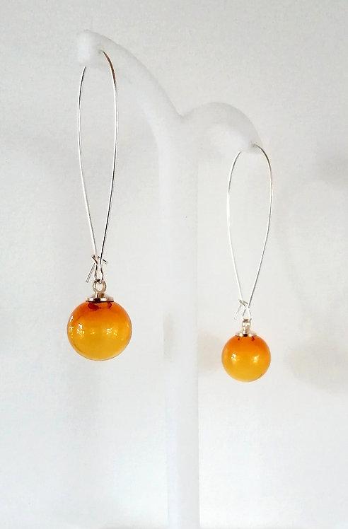Boucles d'oreilles en verre soufflé de couleur ambre