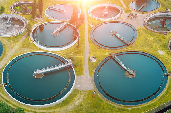 Modern sewage treatment plant, aerial vi