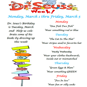 Celebrate Dr. Seuss! -    March 1-March 5, 2021