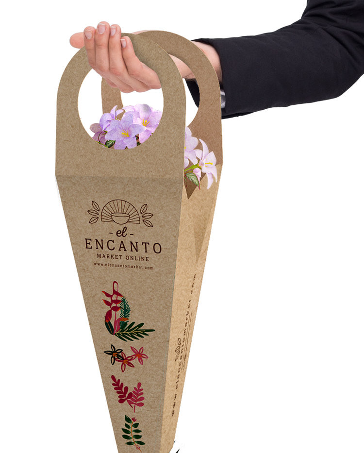 empaque personalizado de cartón para flo