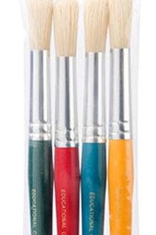 Paint Brush Jumbo Round Plastic Bristle Pk of 4