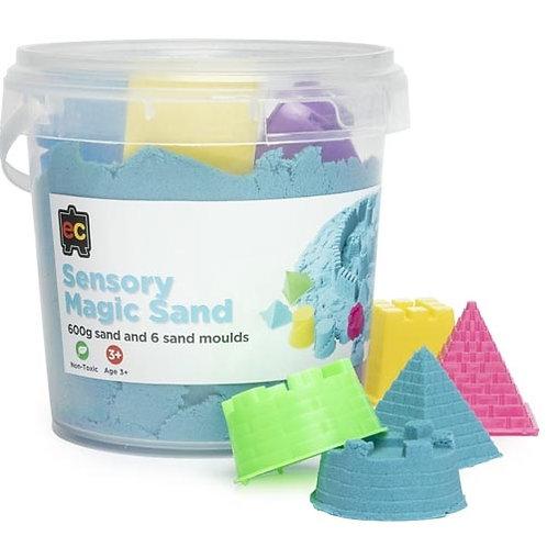 Sensory Magic Sand with Moulds 600g Tub Blue