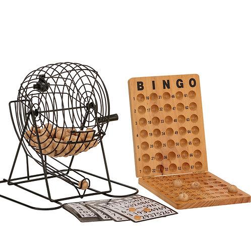 Bingo Set With Metal Cage & Wooden Scoreboard