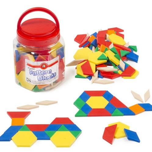 Solid Plastic Pattern Blocks Jar of 126