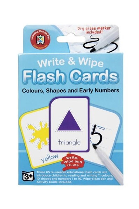 Write & Wipe Flash Cards Colour Shape Numbers