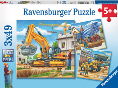 Ravensburger - Construction Vehicle Puzzle 3x49 pieces