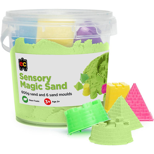 Sensory Magic Sand with Moulds 600g Tub Green