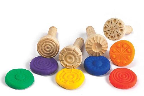 Wooden Dough Stampers Set of 4 Designs