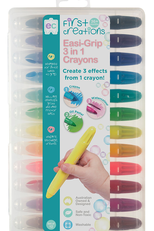 Easi-Grip 3 in 1 Crayons Set of 12