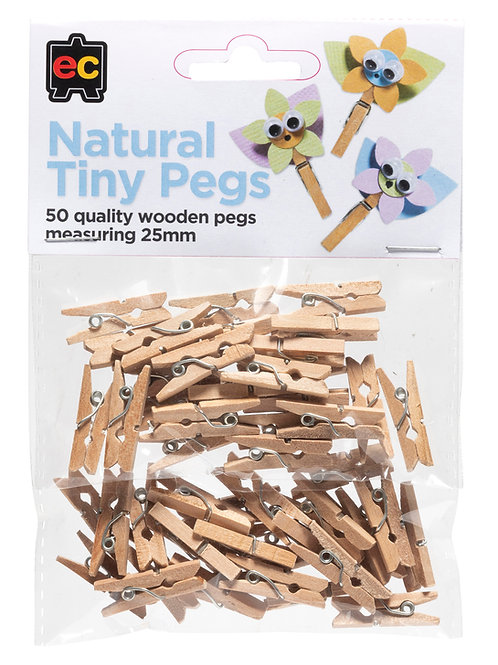Natural Tiny Pegs Pack of 50