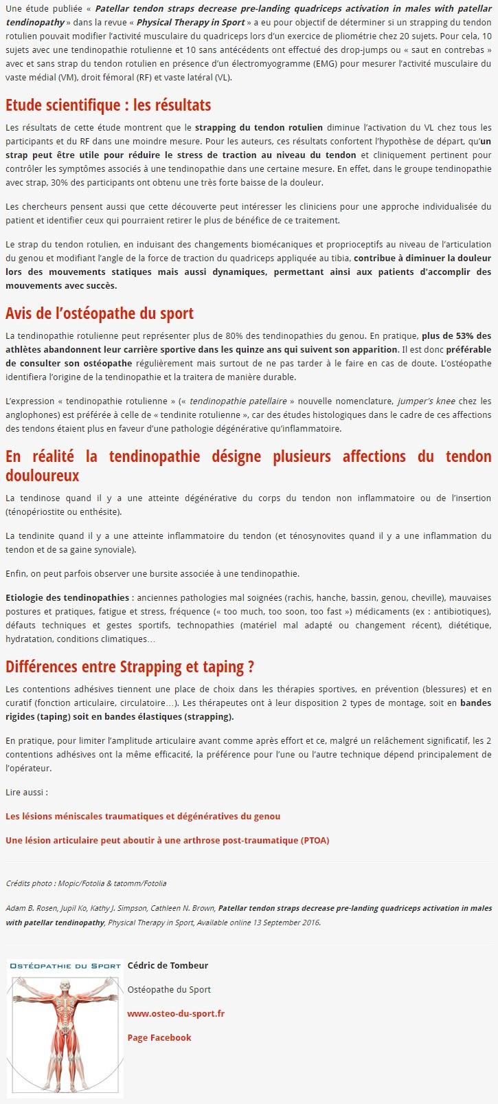 Tendinite, tendinopathie  du genou - Ostéopathe du sport Saint-Nazaire
