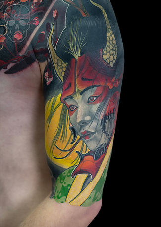 japanese neo traditional tattoo by max core