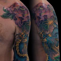 japanese neo traditional tattoo by max core aka mcsim
