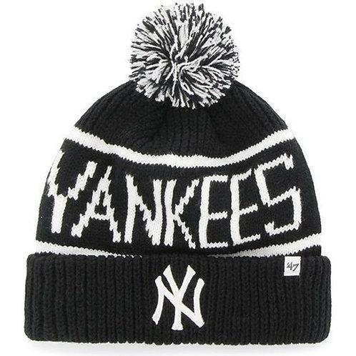 47' brand beanie new york yankees black/white ponpon