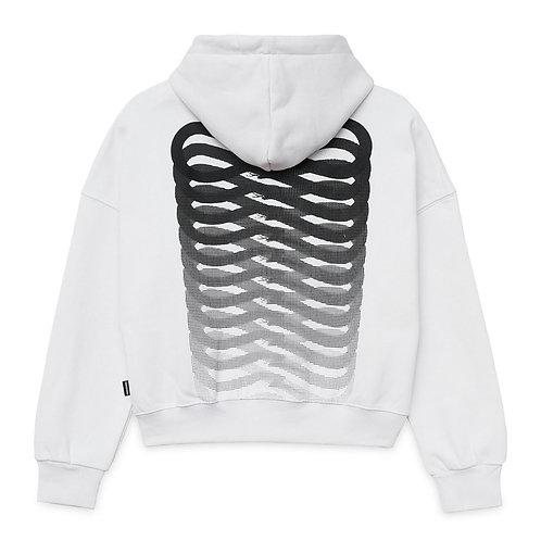 Propaganda logo crop top hoodie white