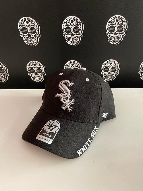 47' brand cap chicago white sox black script edition