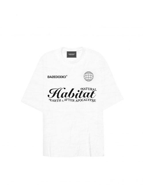 """Basedodici t-shirt oversize """"habitat"""" white"""