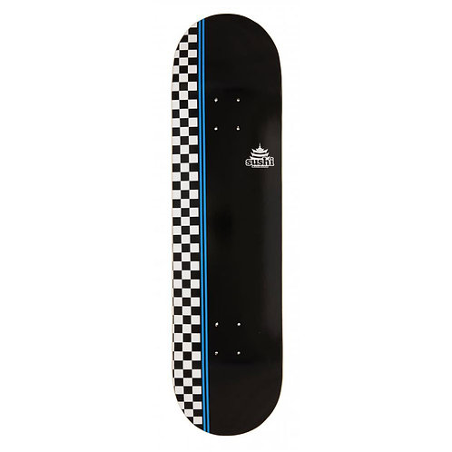 Sushi skateboards checker logo deck black