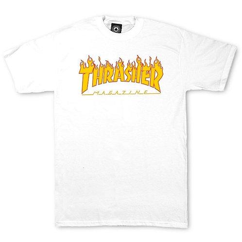 Thrasher t-shirt flame white